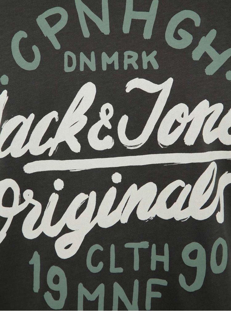 Tricou gri inchis Jack & Jones Surf cu print