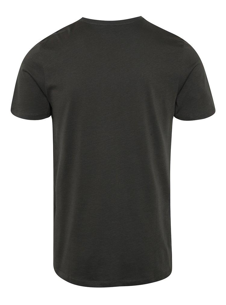 Tricou gri închis Jack & Jones Surf cu print