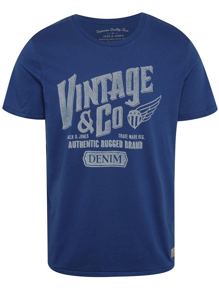 Modré triko s potiskem Jack & Jones Custom 6