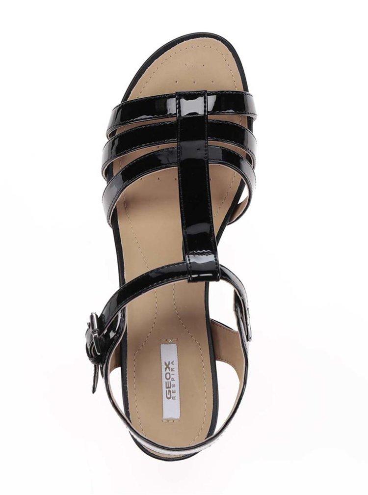 Sandale negre lacuite cu toc gros Geox Symi C
