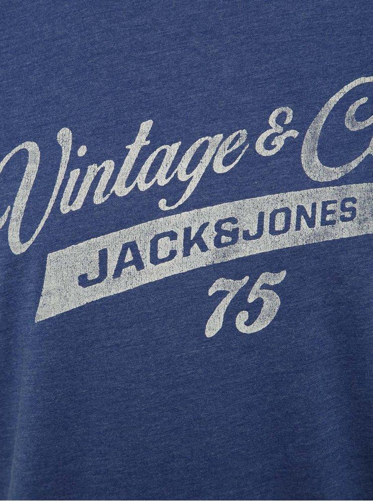 Modré žíhané triko s nápisem Jack & Jones Recycle