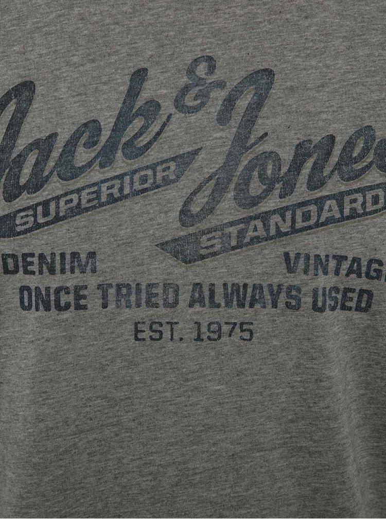 Tricou gri Jack & Jones Recycle cu print