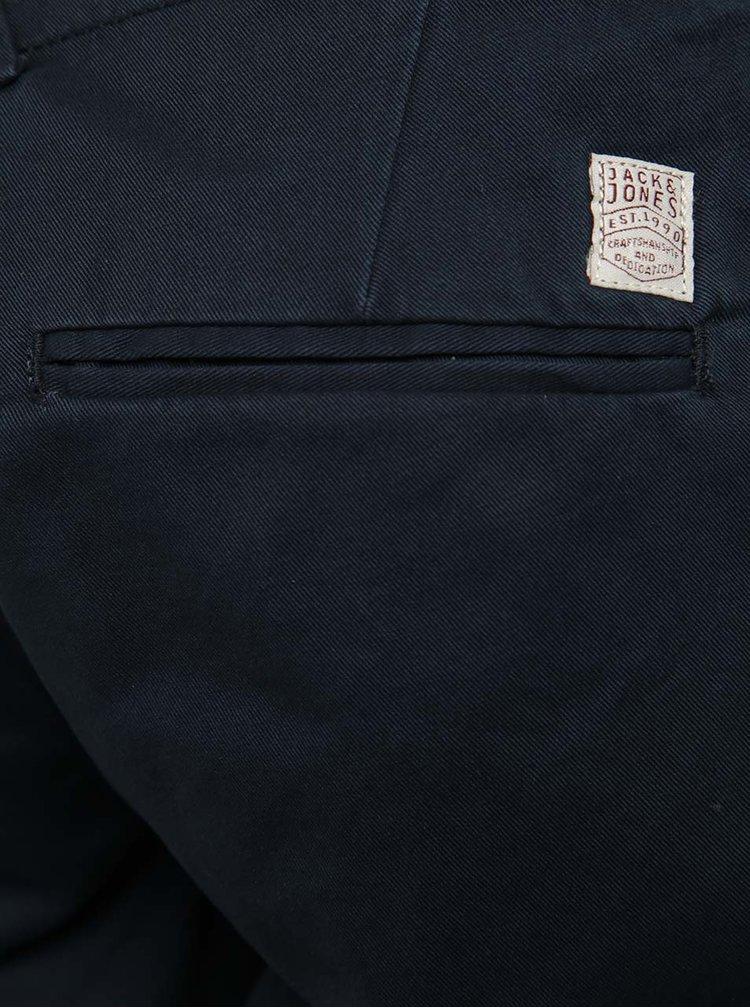 Tmavě modré chino kraťasy s detaily Jack & Jones Peek