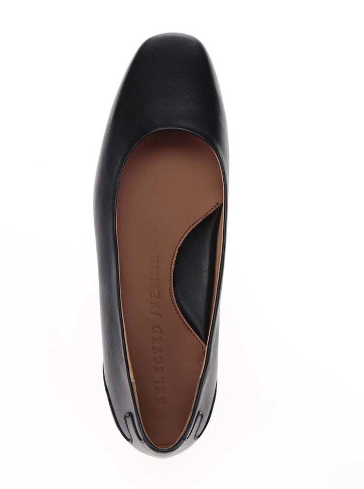 Černé kožené baleríny Selected Femme Mille