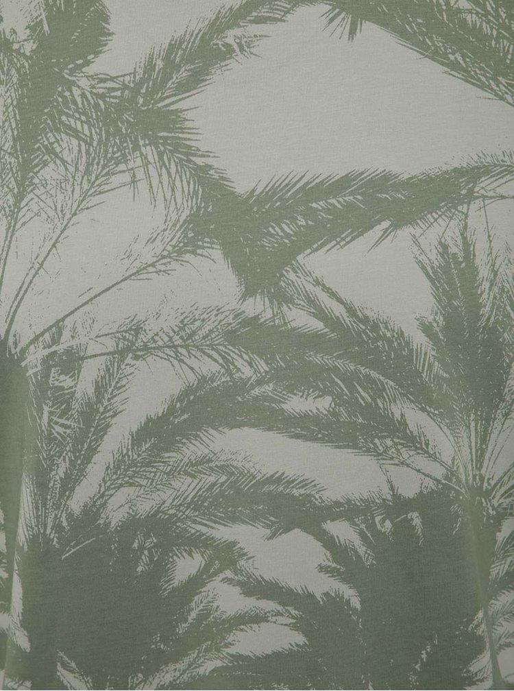 Tricou gri&verde Jack & Jones Malibu cu print tropical