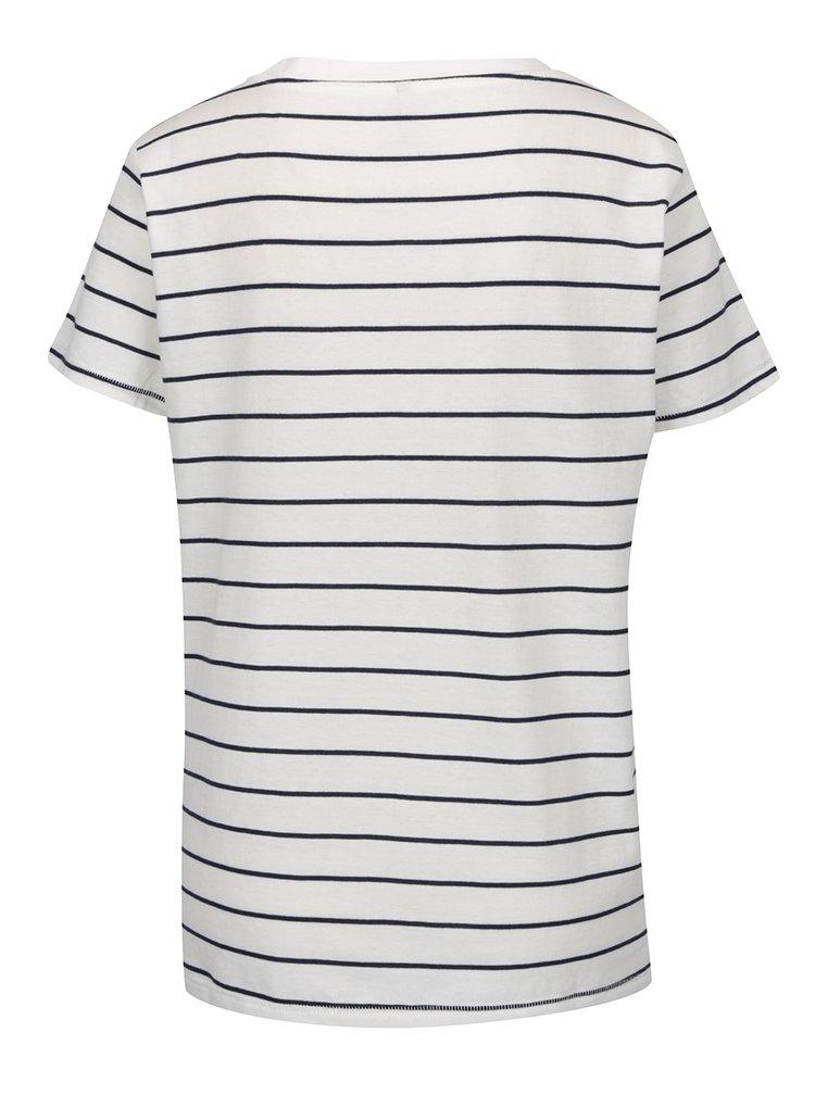 Bílé pruhované tričko s potiskem ONLY Kita