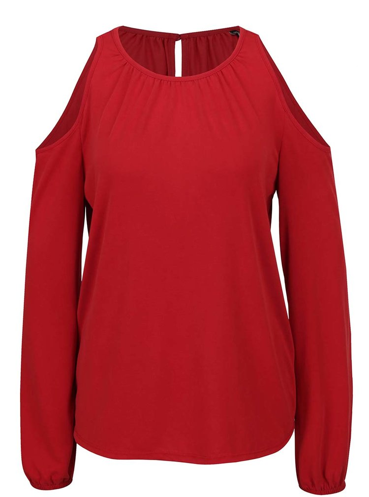 Bluza rosie ONLY Tula cu decupal pe umeri