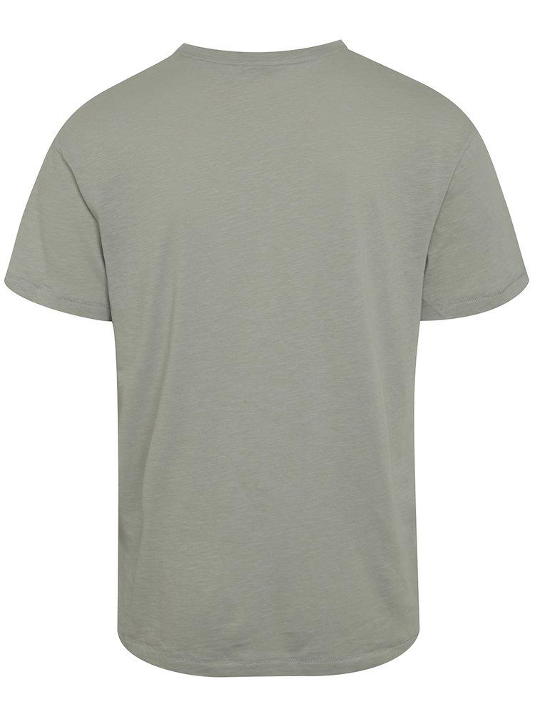 Světle šedé žíhané triko s výšivkou Jack & Jones Costa