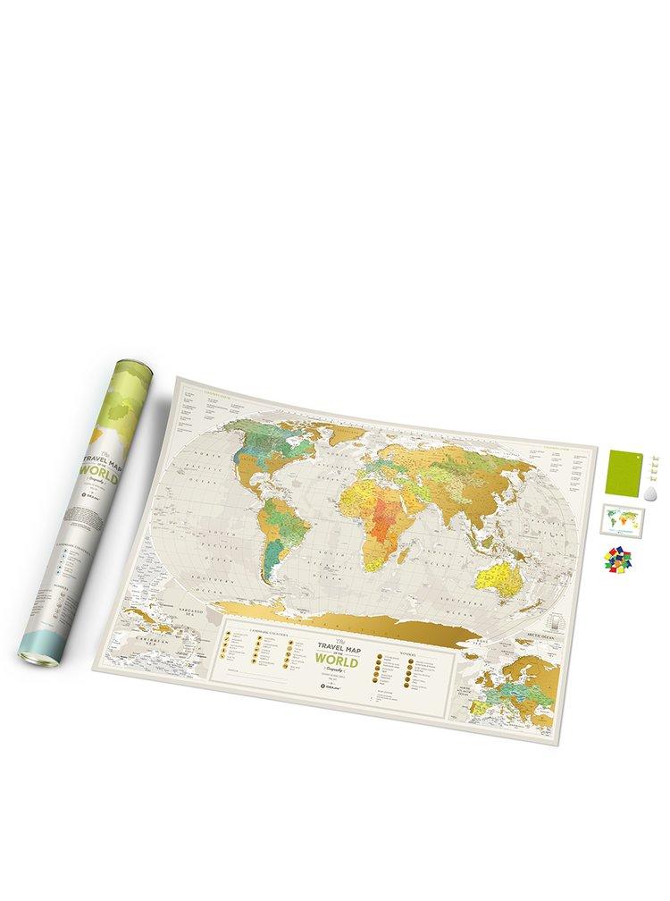 Stírací mapa světa v zeleno-zlaté barvě Travel Map