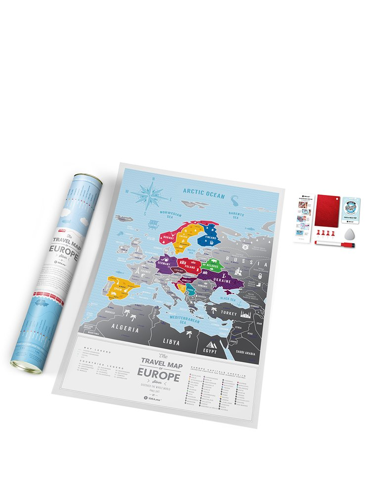 Stírací mapa Evropy v modro-stříbrné barvě Travel Map
