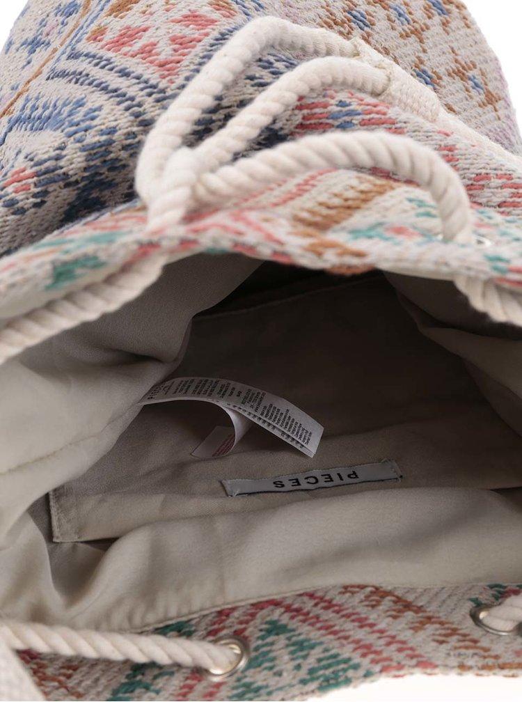 Krémová vzorovaná vaková kabelka Pieces Keri