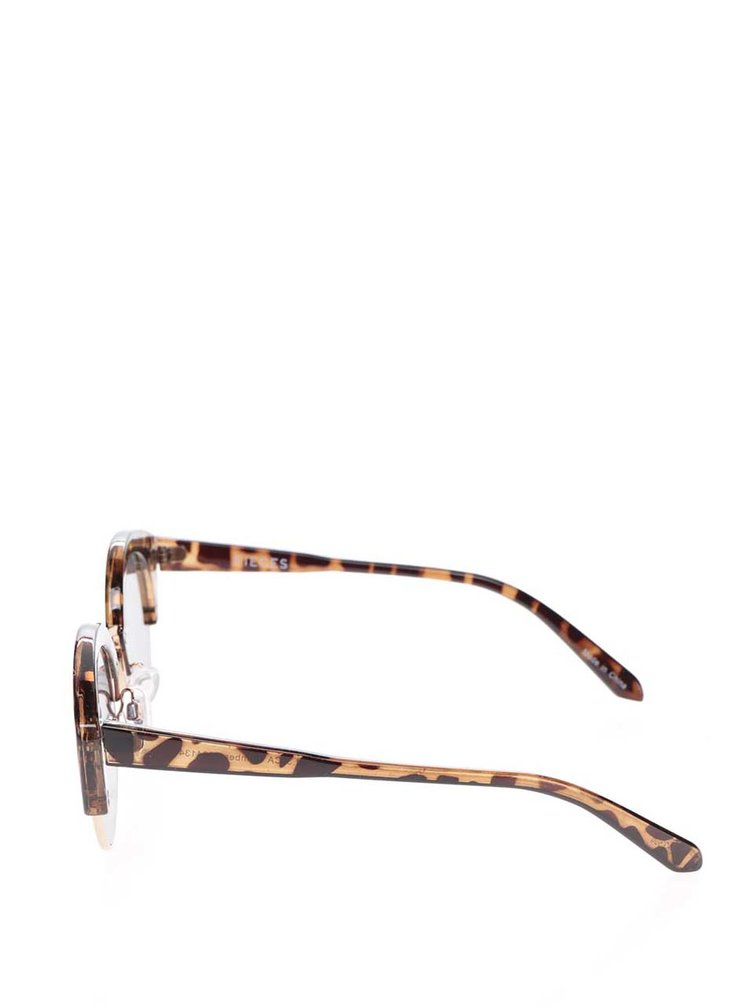 Ochelari de soare maro Pieces Kate cu animal print