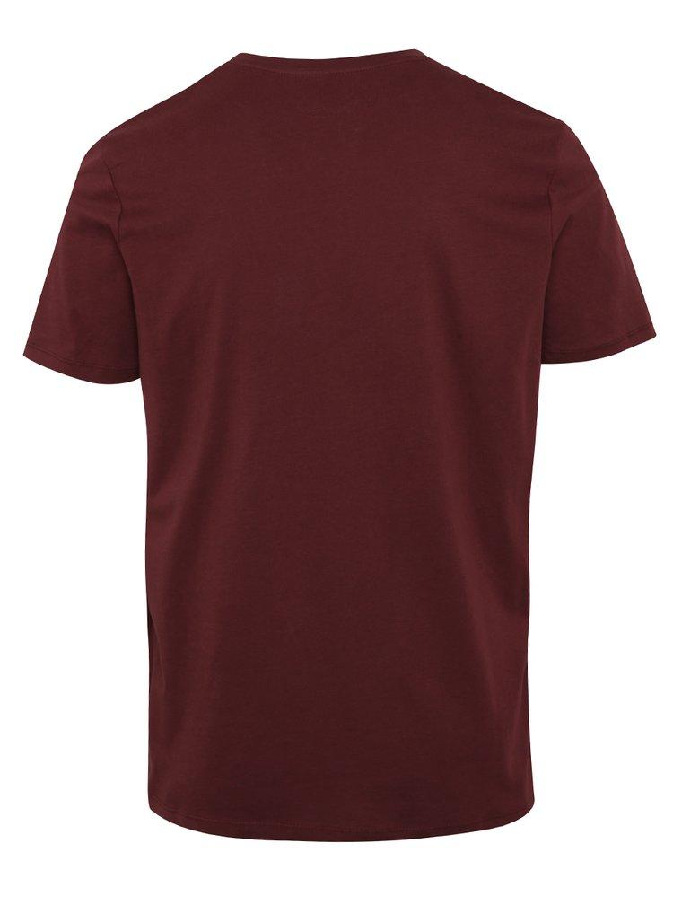Vínové tričko s potiskem Jack & Jones Ornyraffa