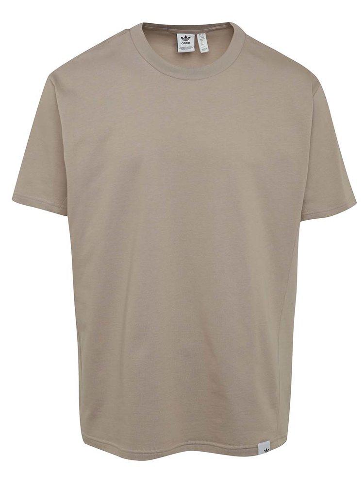 Béžové pánské volné tričko  s krátkým rukávem adidas Originals Xbyo