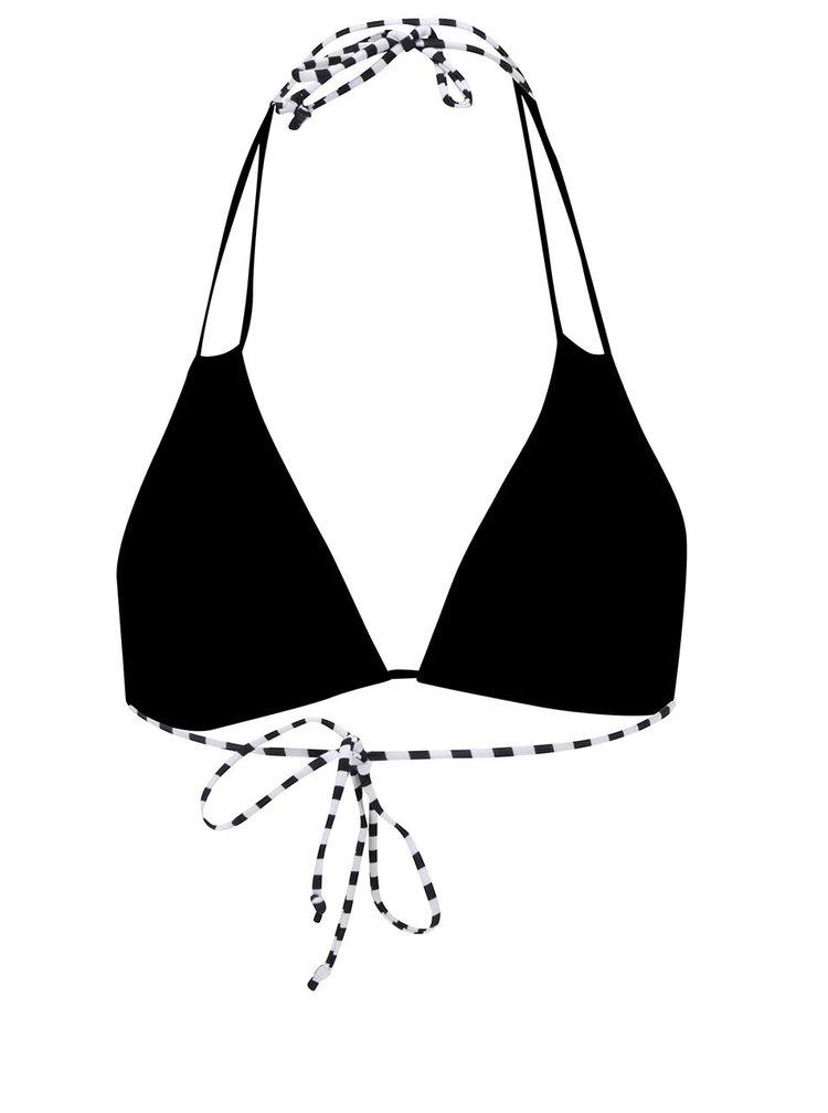 Černý horní díl plavek s tropickým vzorem Pieces Liva