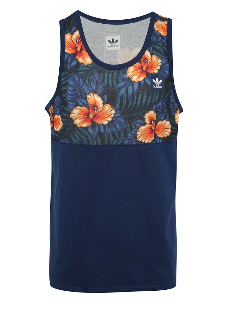 Top bleumarin cu model tropical adidas Originals