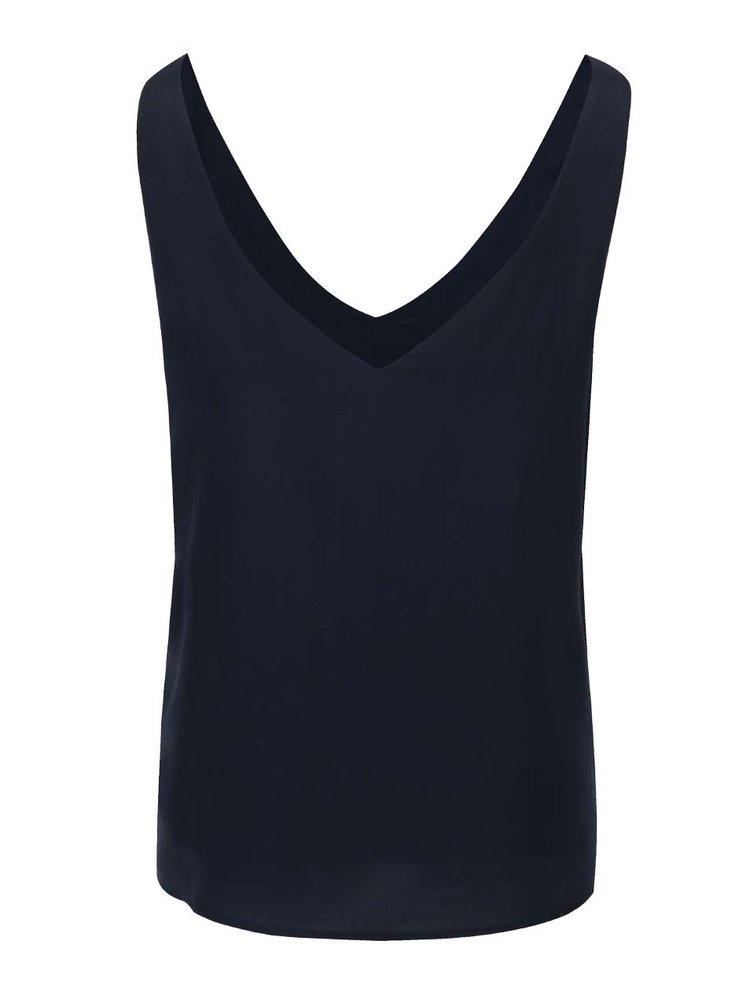 Tmavě modré volné hedvábné tílko Selected Femme Amalie