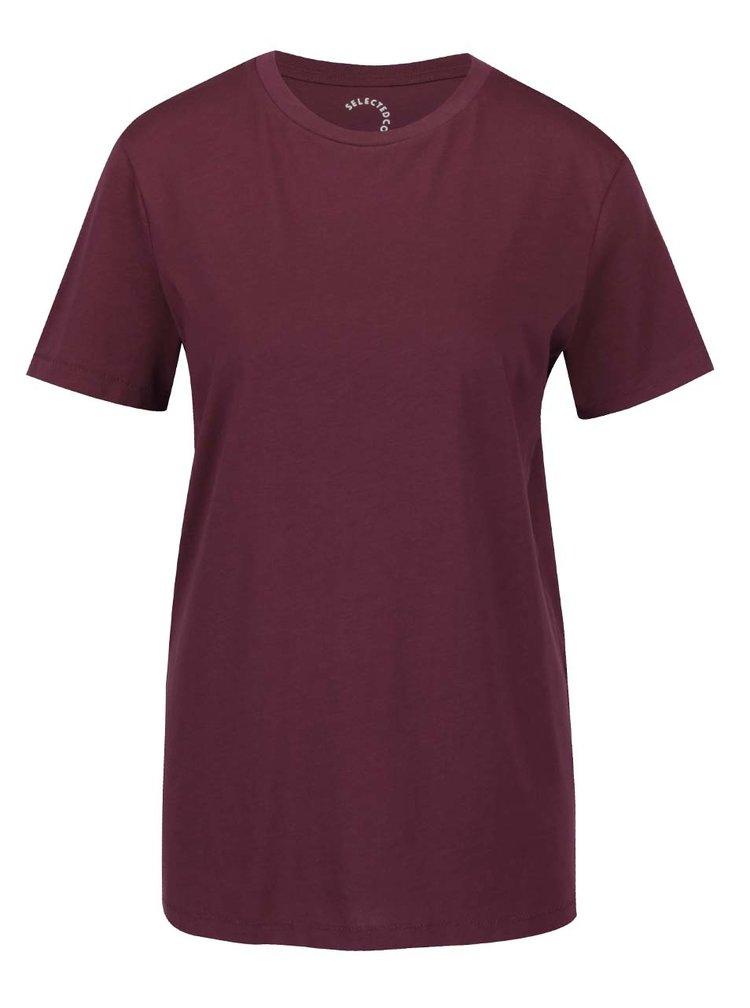 Vínové basic tričko Selected Femme My Perfect