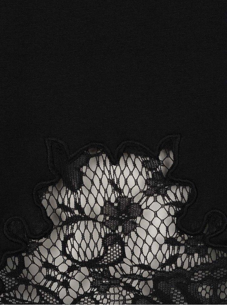 Černé tričko s krajkovými prvky Selected Femme Dinella