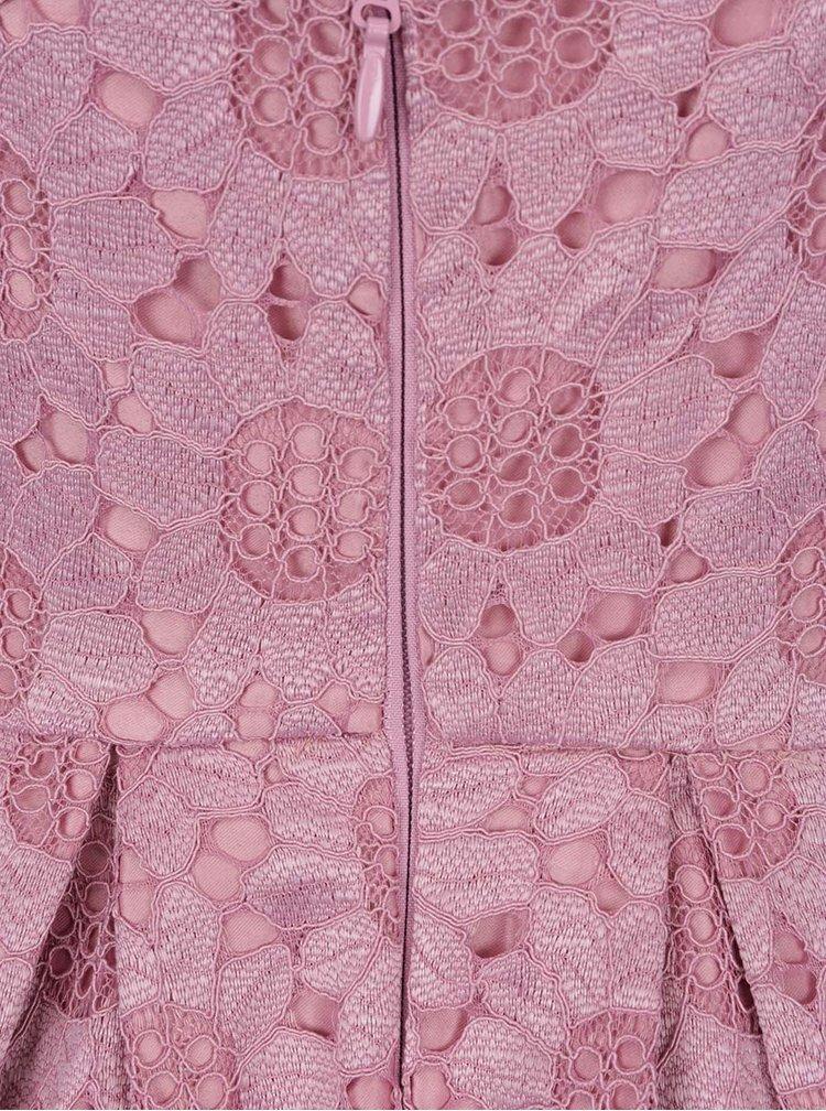 Rochie roz prafuit Chi Chi London Ruthie din dantela cu tiv asimetric