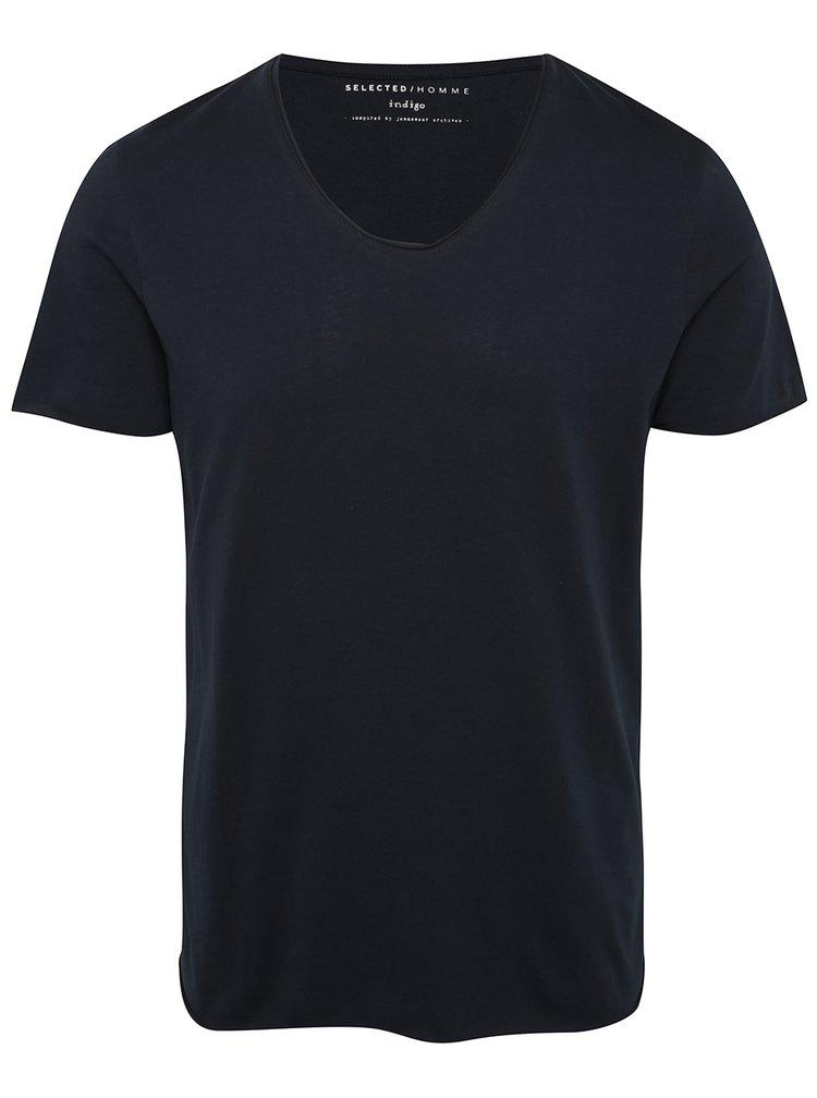 Tmavě modré tričko s krátkým rukávem Selected Homme Newmerce