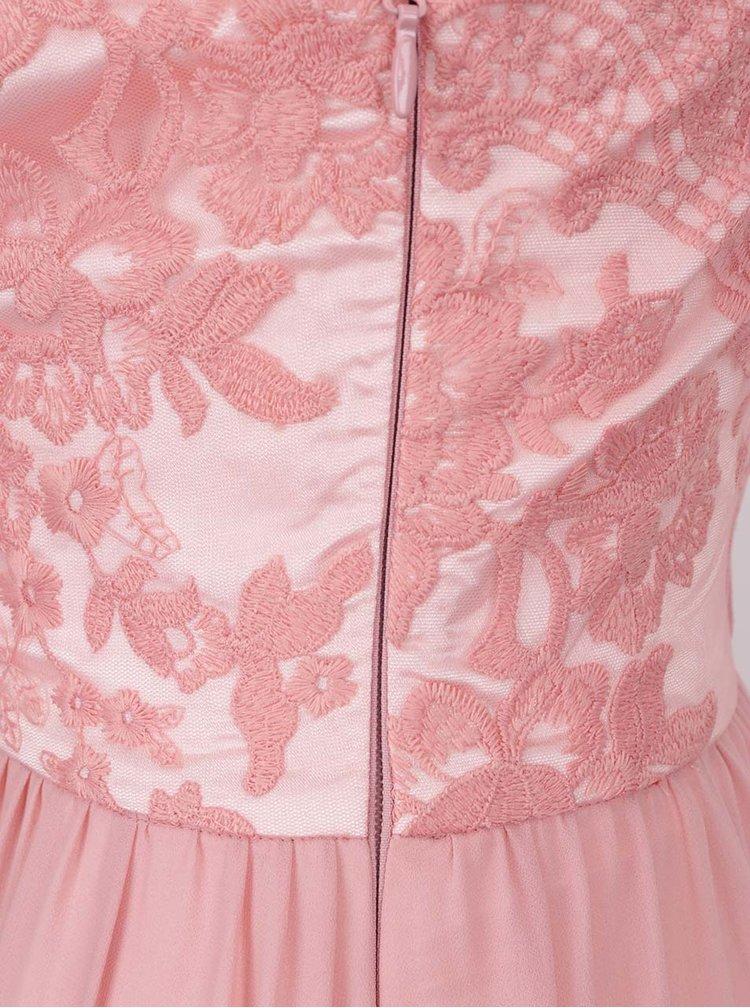 Rochie roz prafuit cu aplicatie din dantela  Chi Chi London Trish