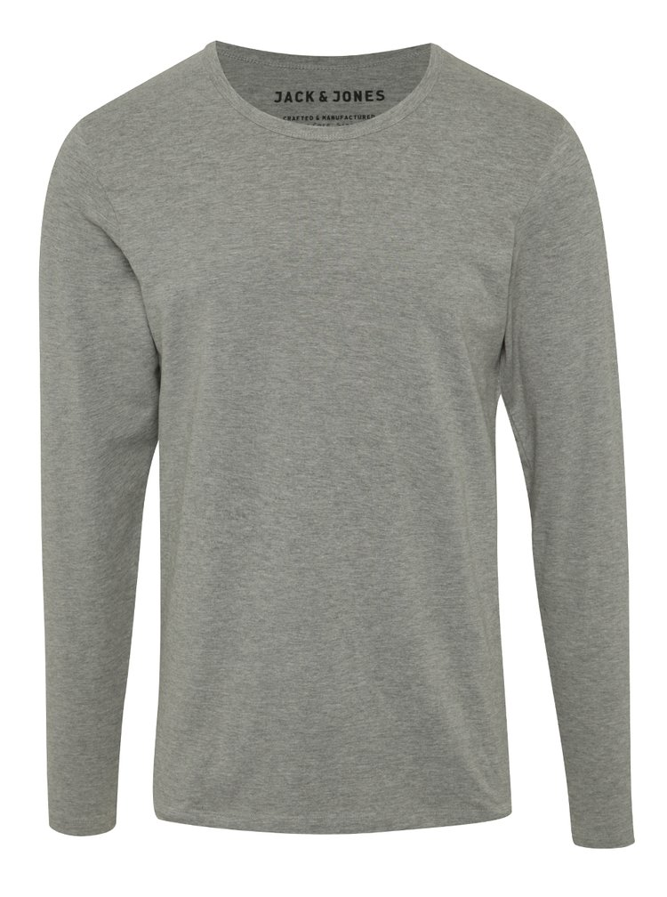 Šedé tričko s dlouhým rukávem Jack & Jones Basic