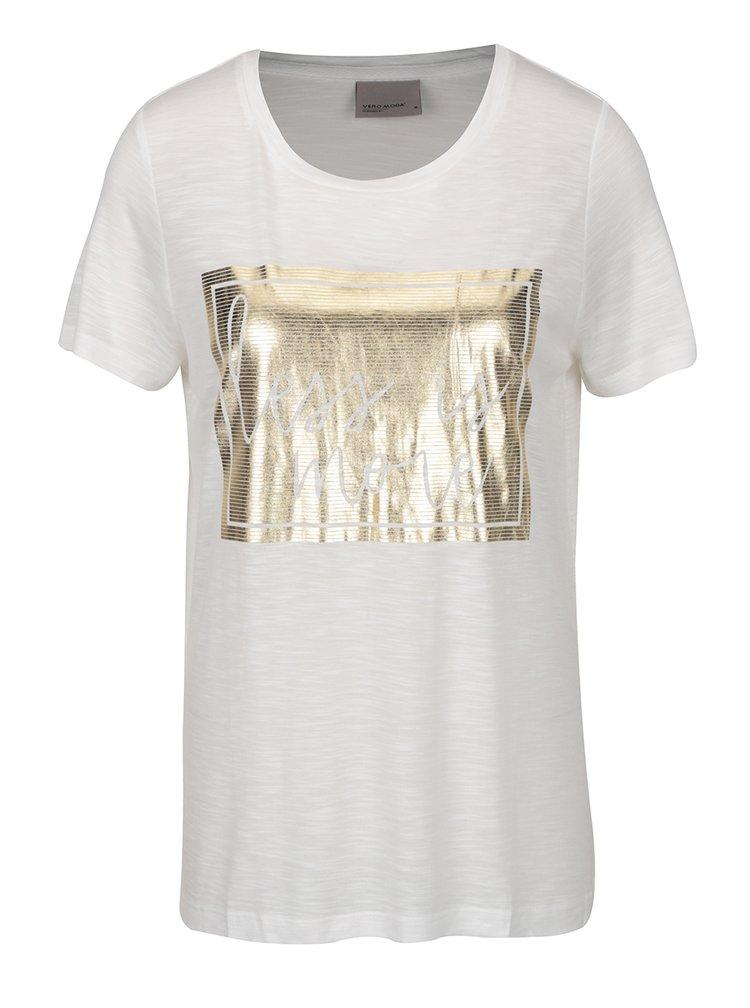 Krémové tričko s potiskem ve zlaté barvě VERO MODA Klarissa
