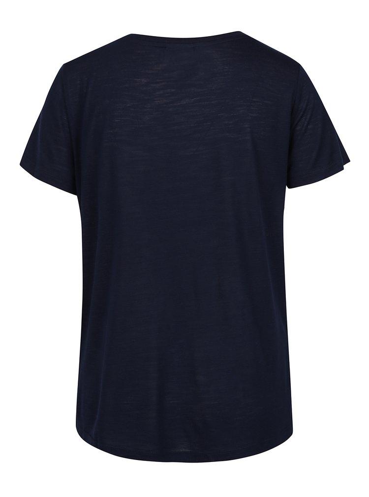 Tricou bleumarin cu print  auriu VERO MODA Klarissa