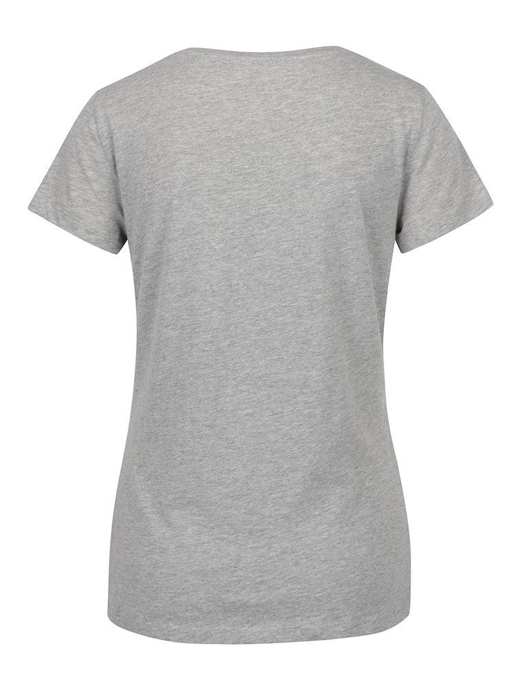 Světle šedé tričko s potiskem Noisy May Axel