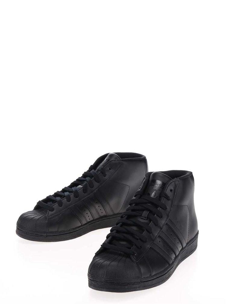 Pantofi sport înalți negri unisex din piele adidas Originals Pro Model Vintage