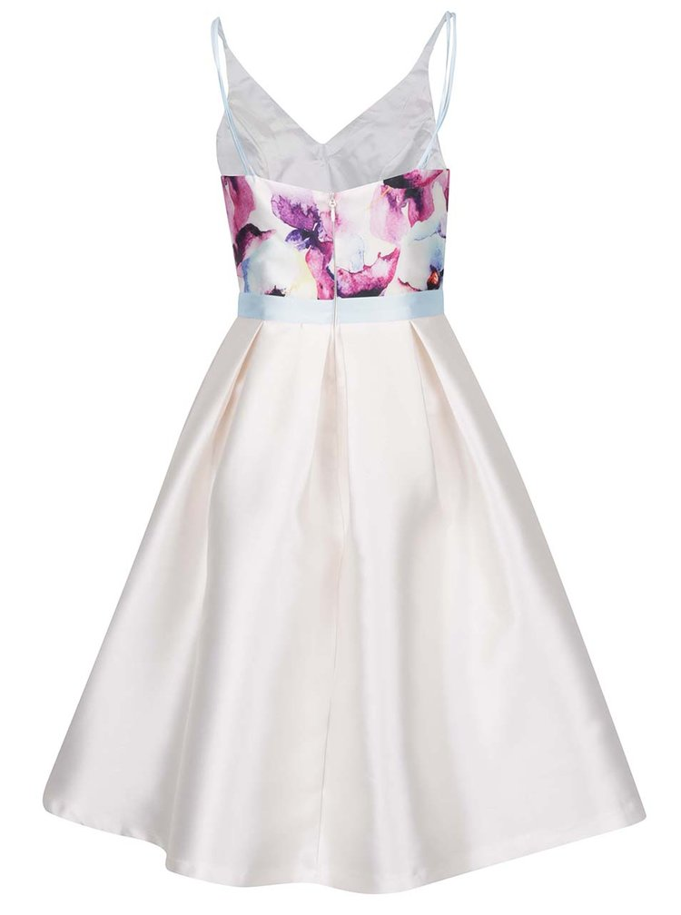 Rochie albă satintă cu model floral Chi Chi London Teisha
