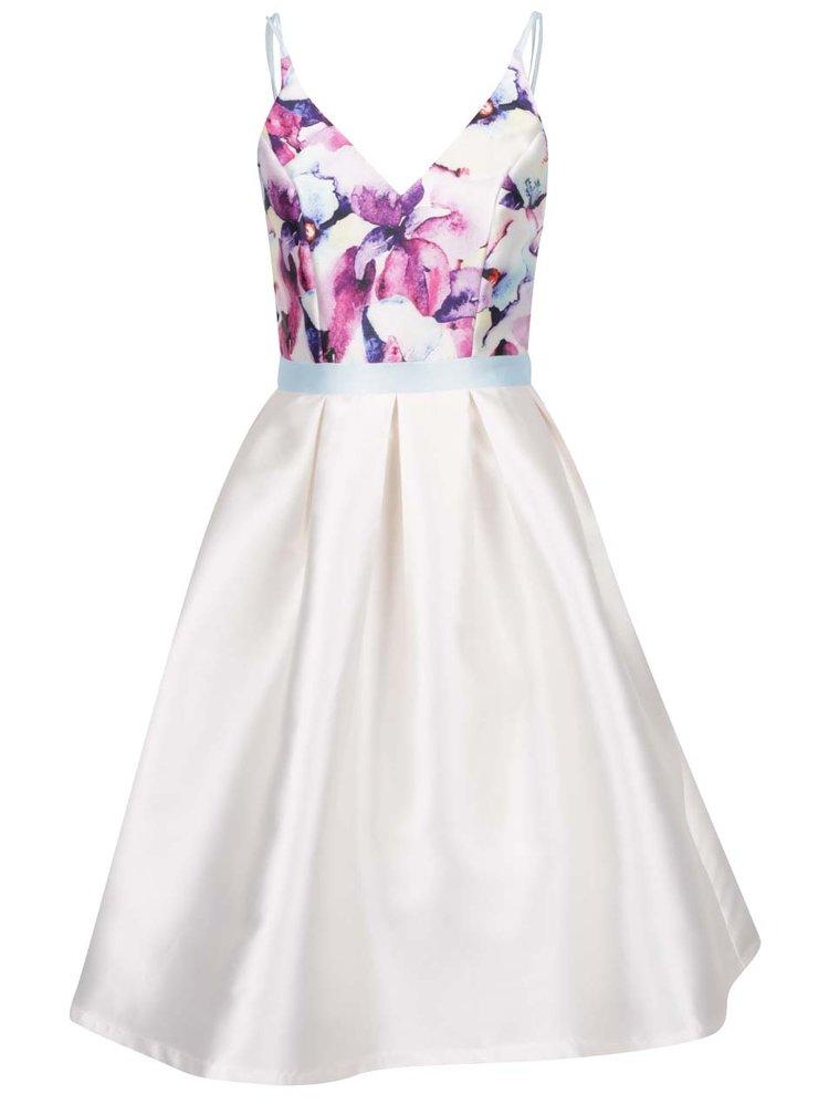 Krémové šaty s květovaným topem Chi Chi London Teisha