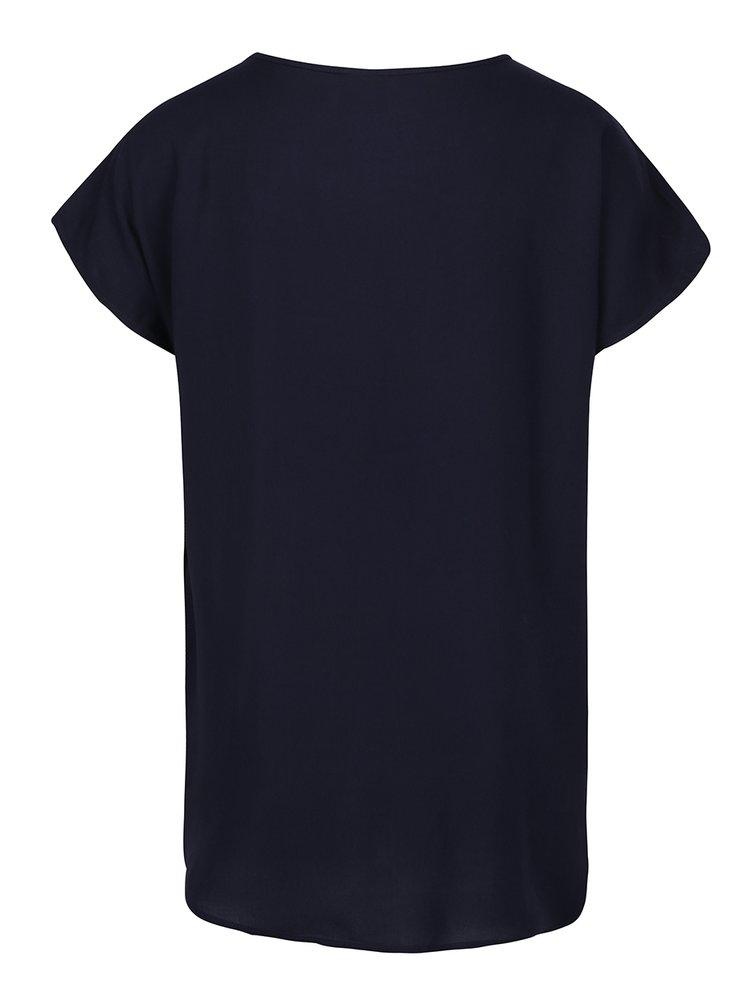 Tricou bleumarin vaporos cu broderie VERO MODA Ember