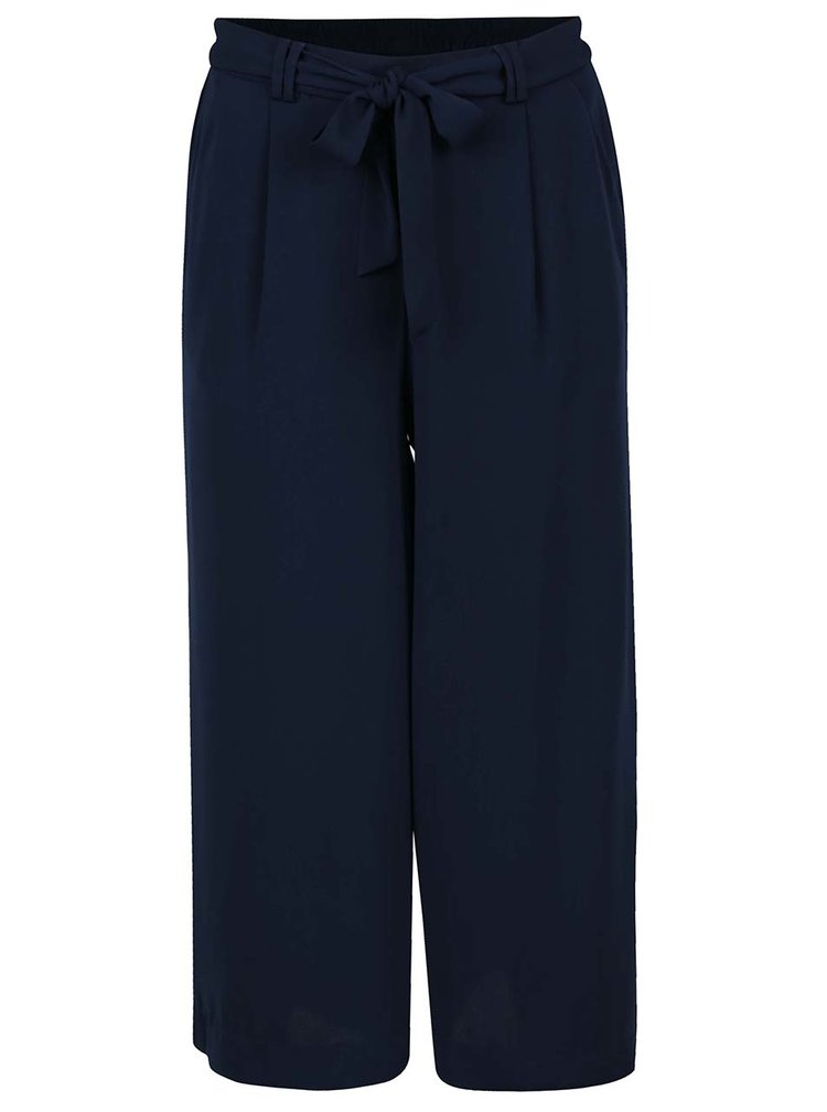 Pantaloni culottes bleumarin VERO MODA Maili cu panglici in talie