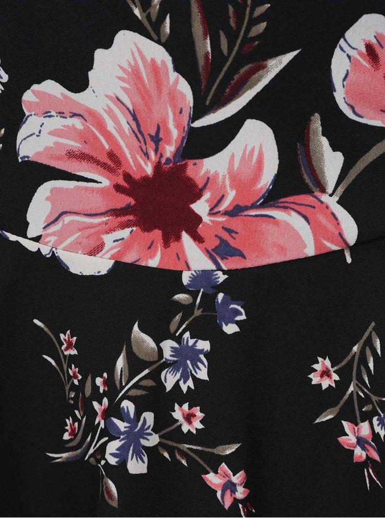 Rochie neagră VERO MODA Mona  cu model floral și bretele subțiri