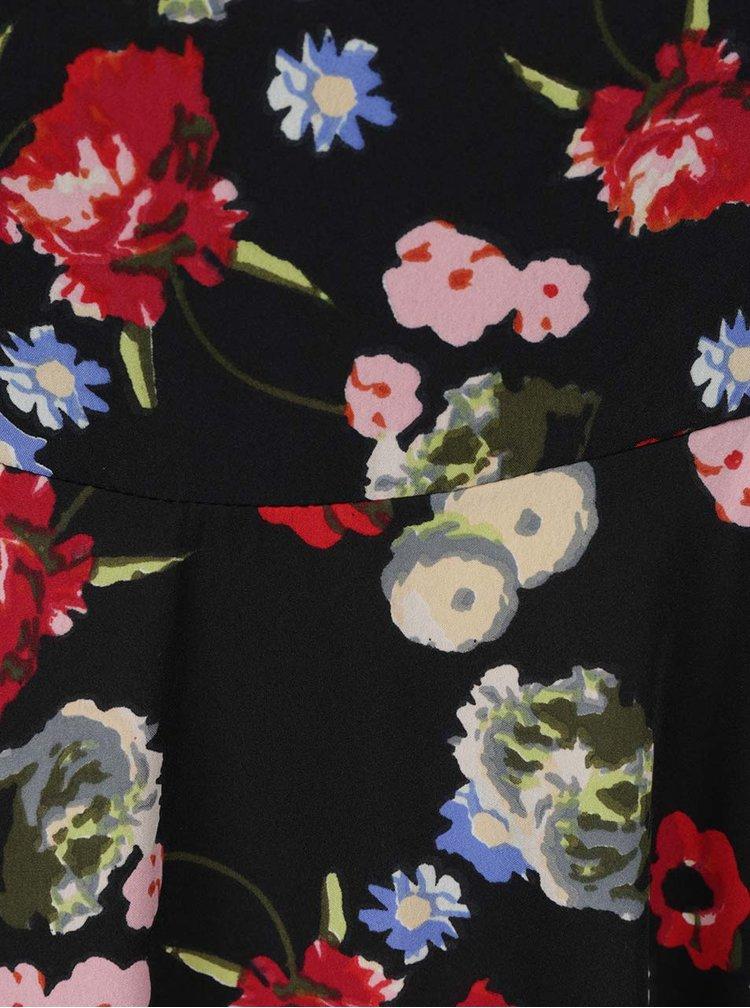 Rochie neagra VERO MODA Mona cu model floral si bretele subtiri