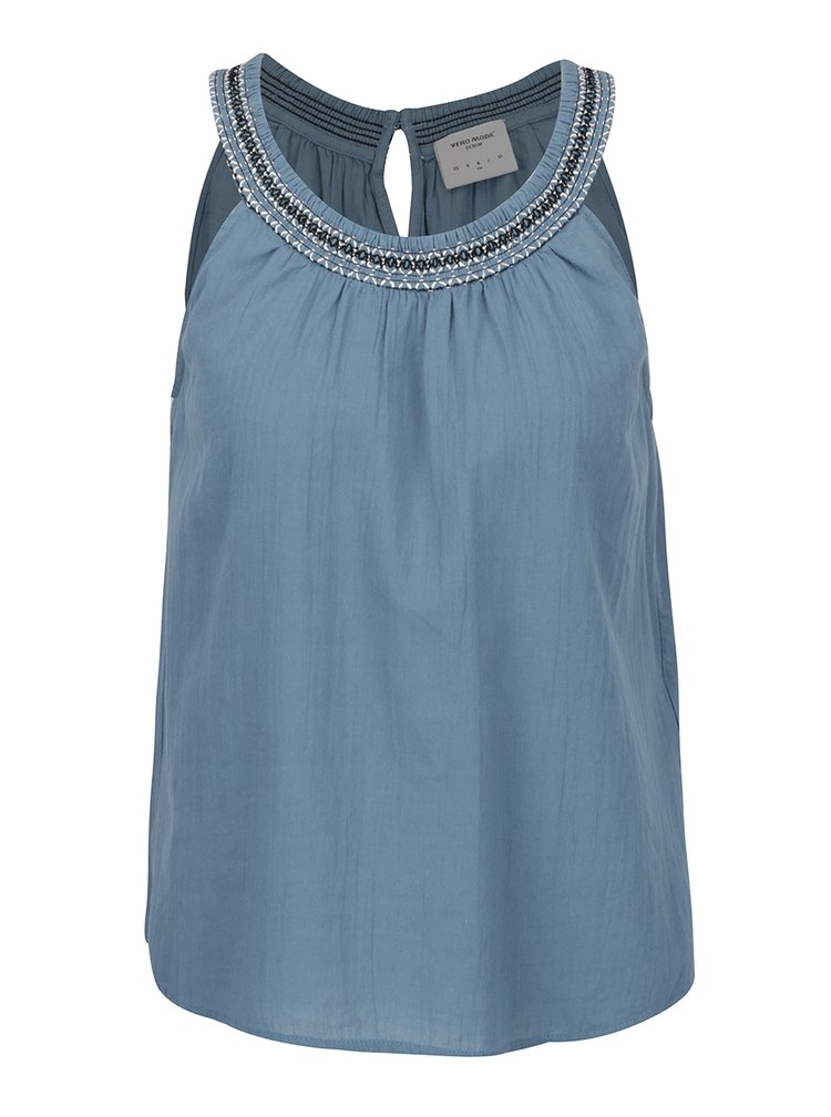 Modrý volný top s ozdobným lemem VERO MODA Gaiza