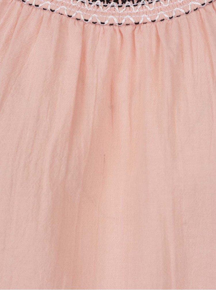 Světle růžový volný top s ozdobným lemem VERO MODA Gaiza
