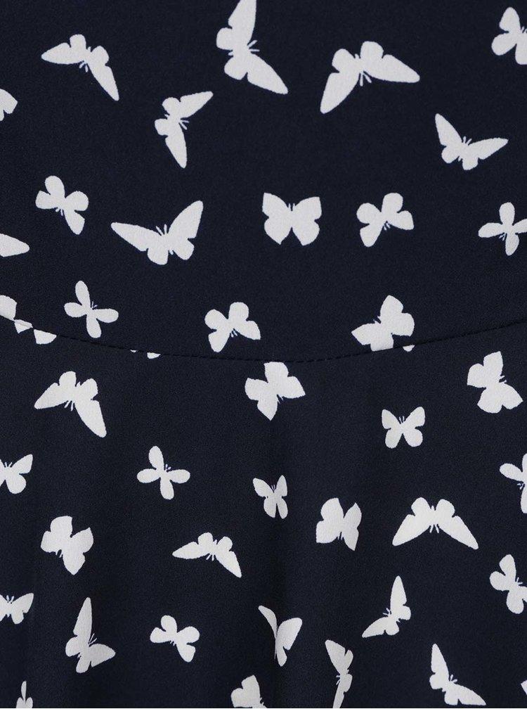 Rochie bleumarin&alb cu imprimeu cu fluturi VERO MODA Mona