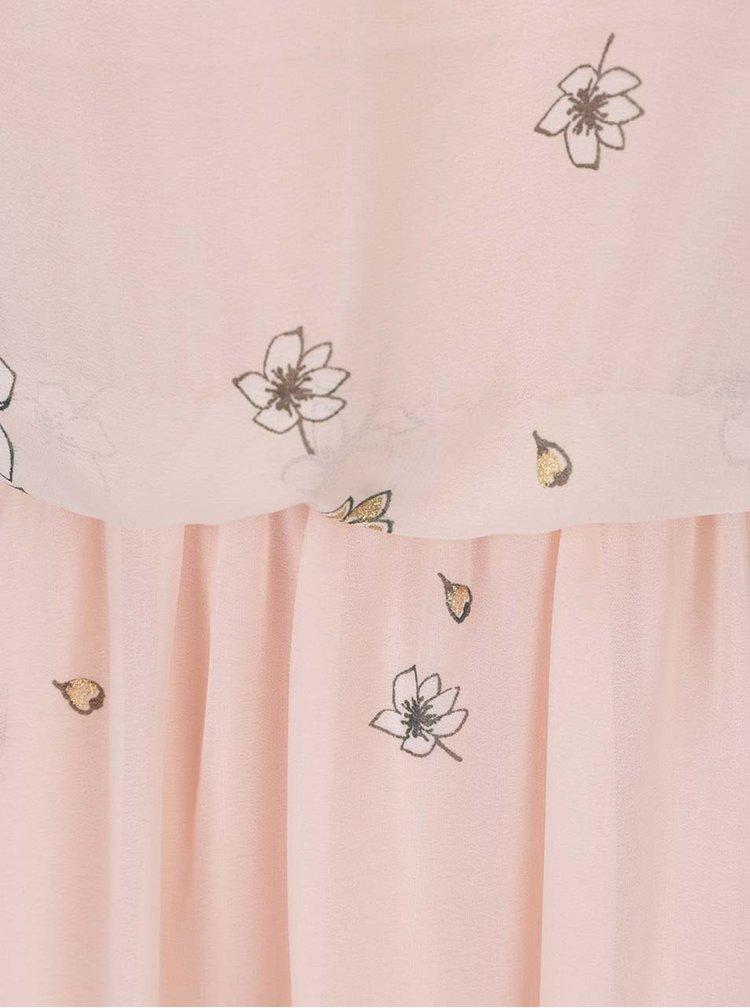 Světle růžové květované maxišaty s detaily ve zlaté barvě VERO MODA Lea