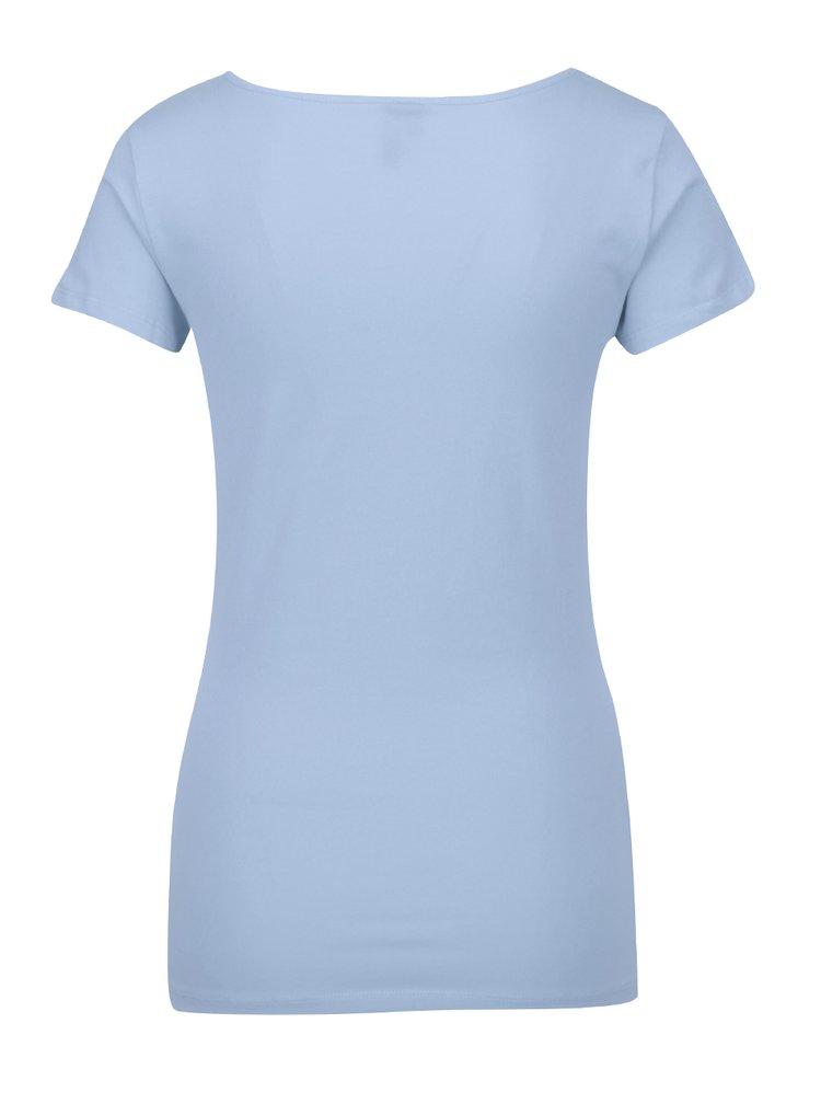 Světle modré basic tričko s krátkým rukávem VERO MODA Maxi
