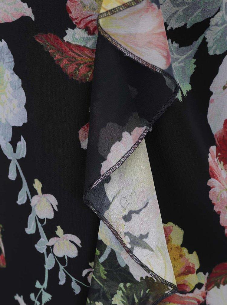 Černá květovaná halenka s volánem Dorothy Perkins