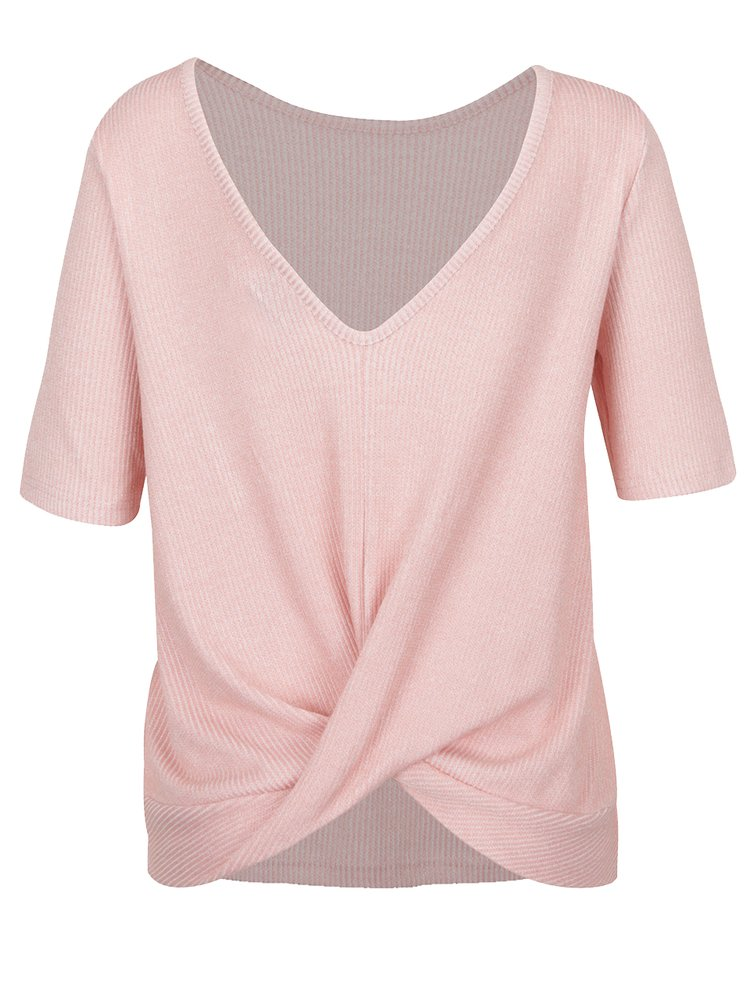 Růžové pruhované tričko s překládanou zadní částí VERO MODA Kaitlyn