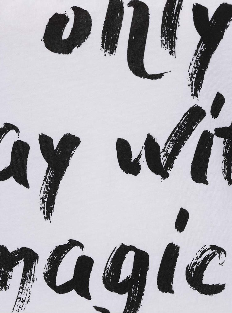 Tricou alb cu print cu text Noisy May Axel