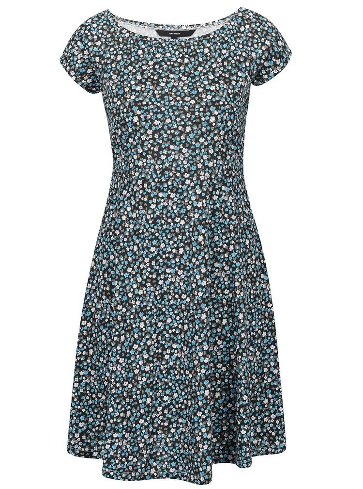 Modro-černé květované šaty VERO MODA Jane