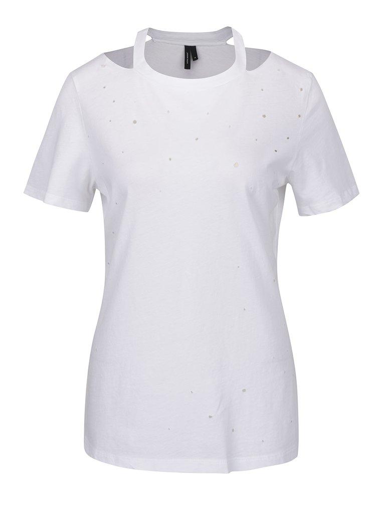Bílé tričko s průstřihy VERO MODA Juniper