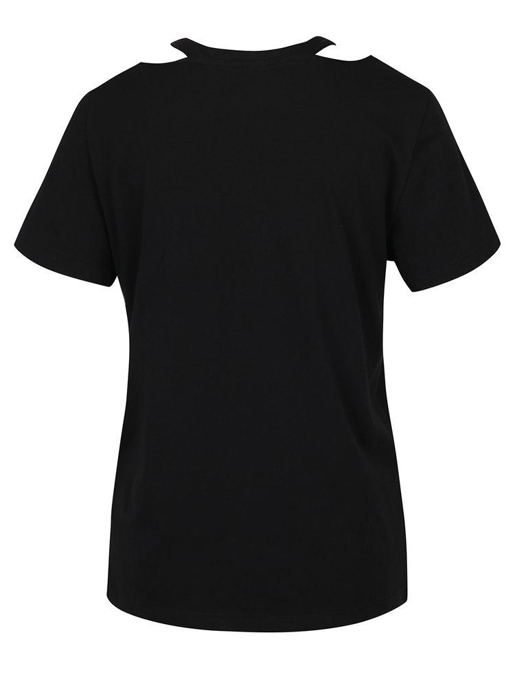Černé tričko s průstřihy VERO MODA Juniper