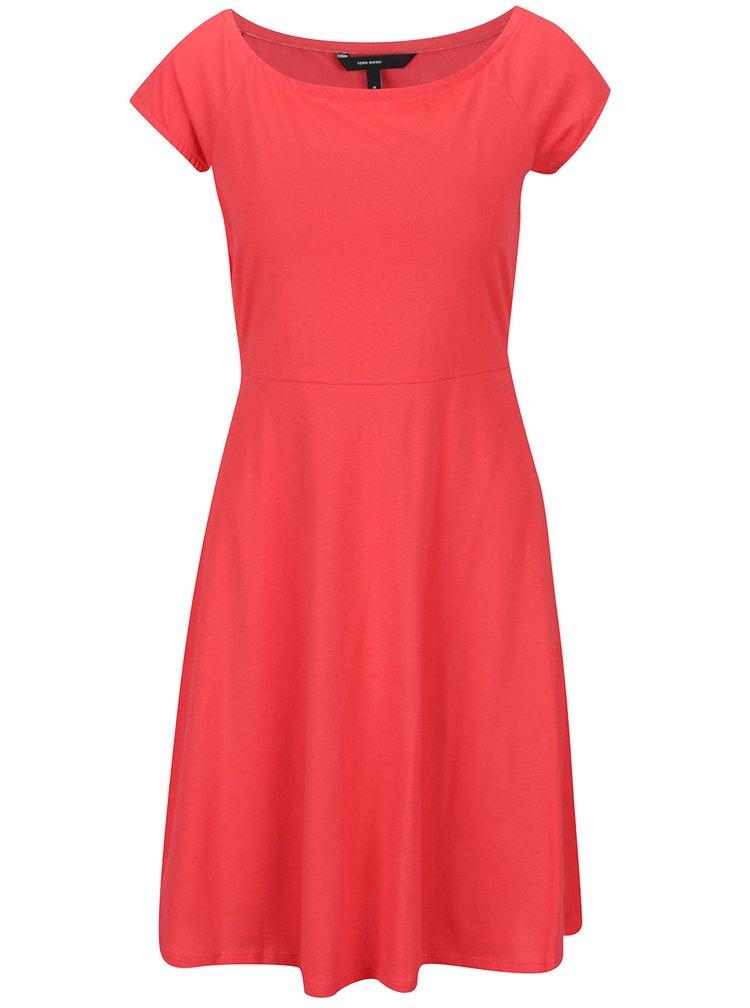 Rochie roșie VERO MODA Jane cu mâneci scurte