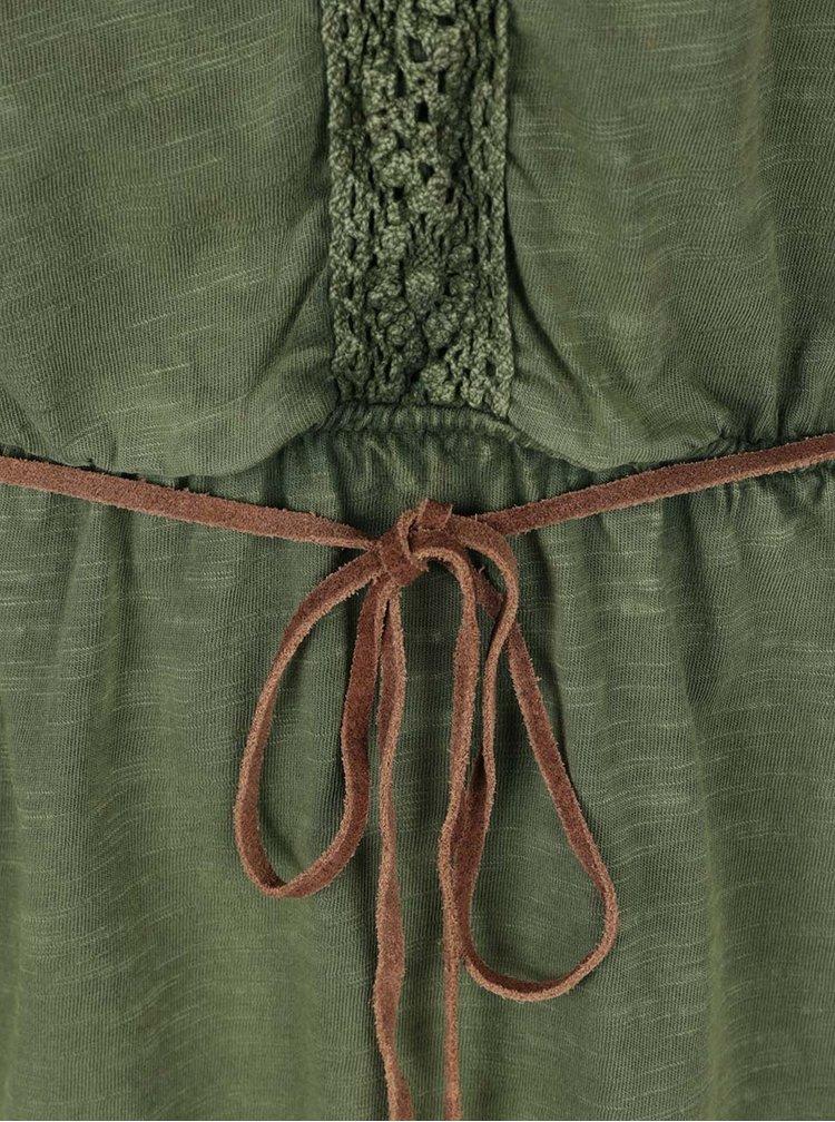Zelené šaty s krajkovými detaily a páskem VERO MODA Spirit